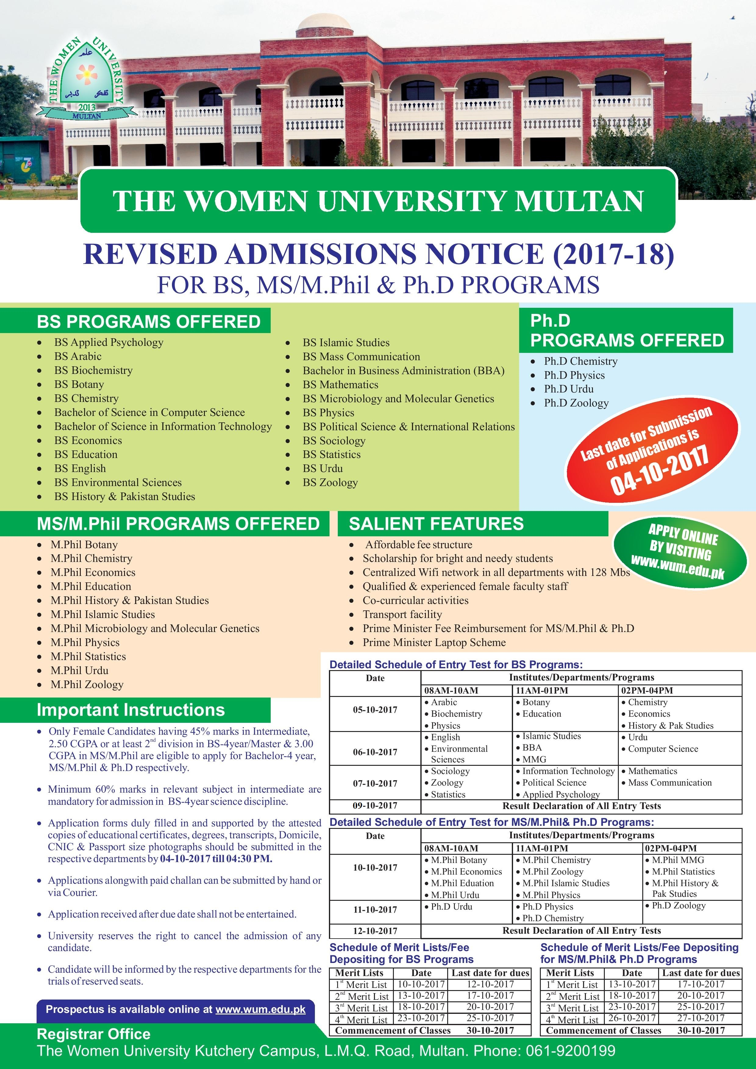 The women university Multan Fall spring admission