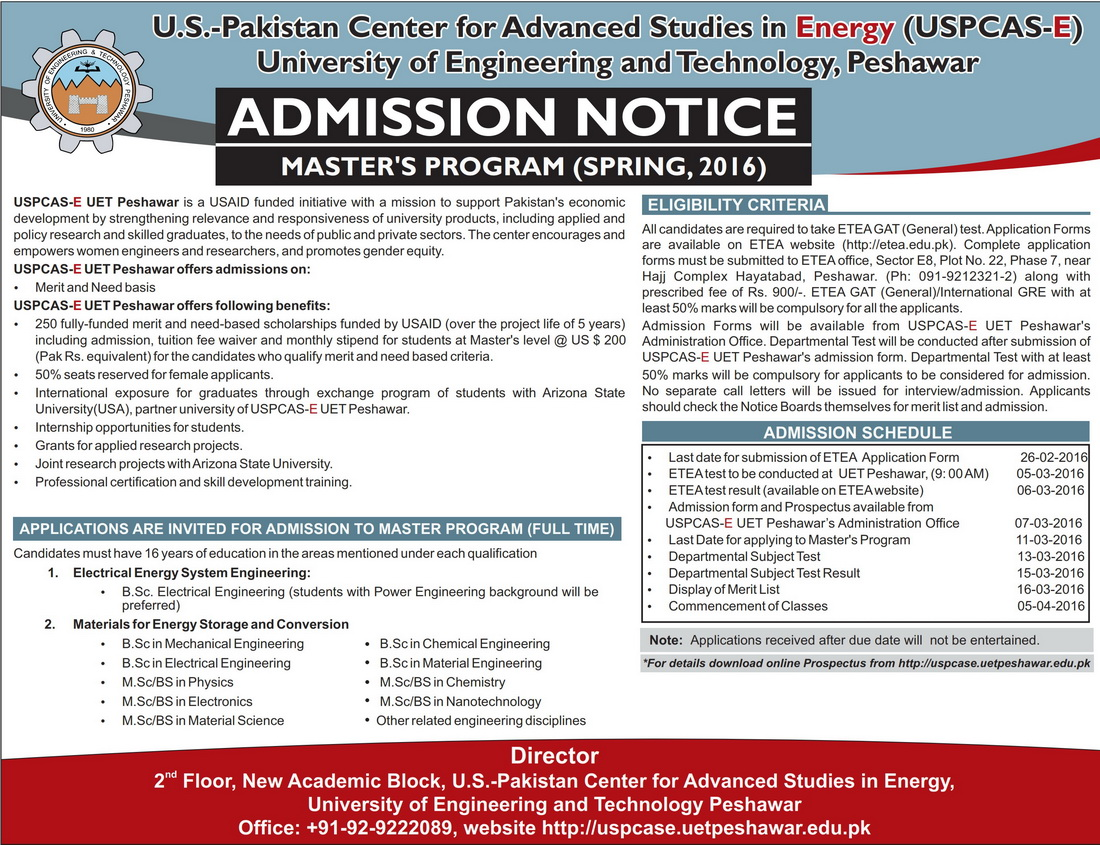 UET, Peshawar admission ad