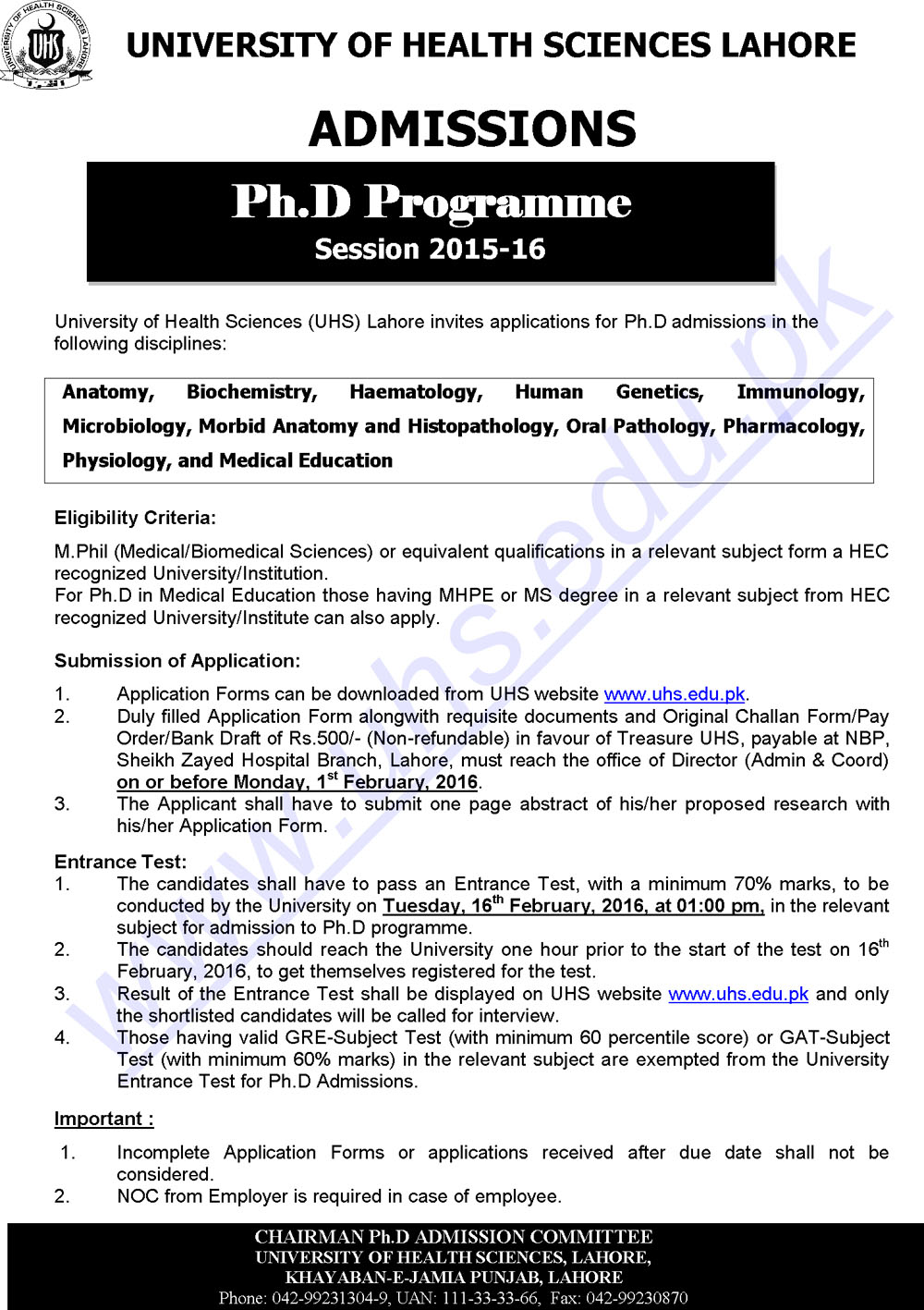 University Of Health Sciences Lahore PHD programs