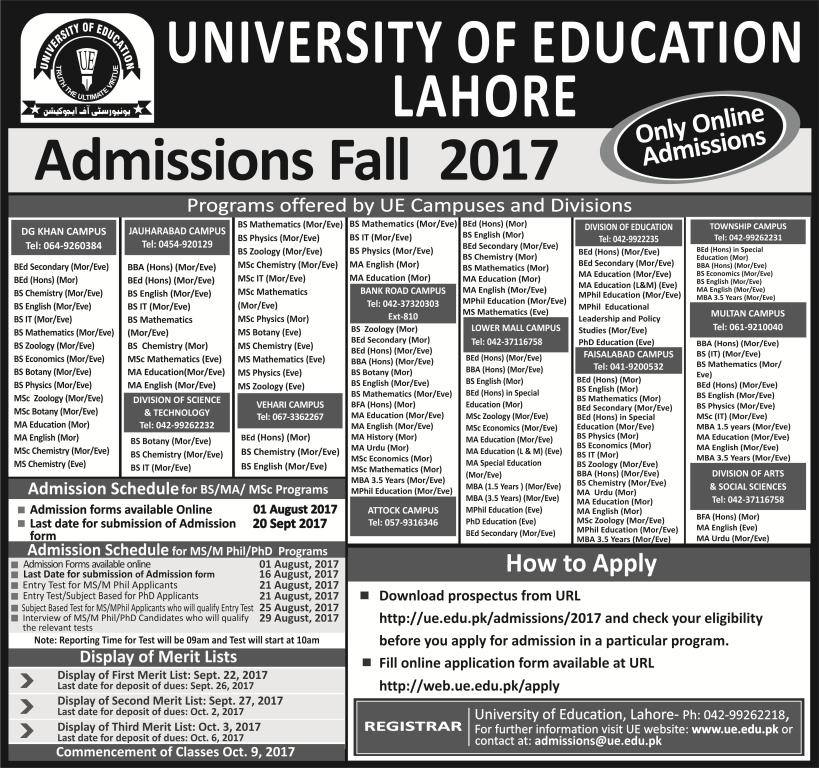University of Education admission