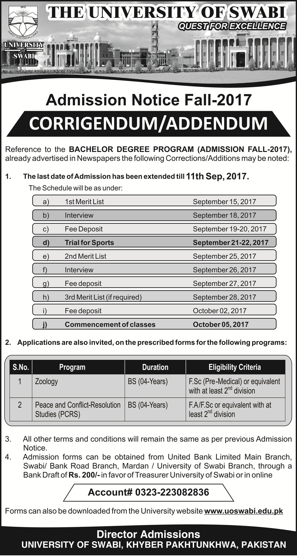 University of Swabi admission 1