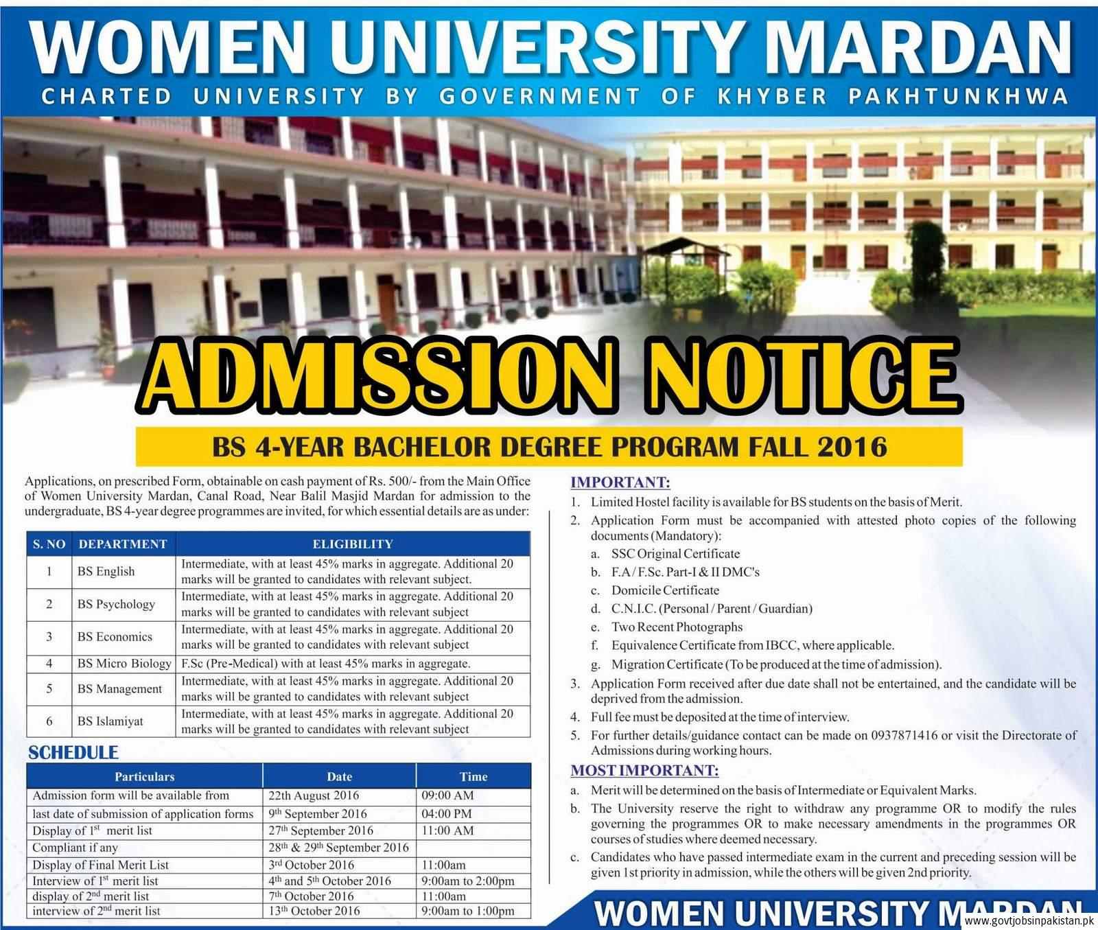 Women University Mardan admisssions fall spring