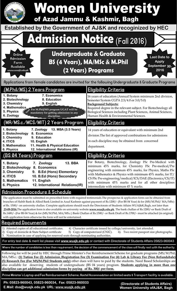 Women University of Azad Jammu and Kashmir Bagh admission
